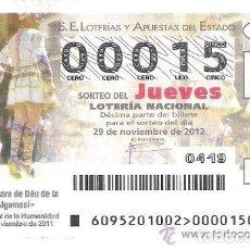 Lotería Nacional: 1 DECIMO LOTERIA JUEVES 29 NOVIEMBRE 2012 95/12 FIESTAS MARE DE DEU DE LA SALUT ALGEMESI ( VALENCIA. Lote 102547991