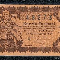 National Spanish Lottery - DECIMO LOTERIA NACIONAL AÑO 1954 SORTEO 8 - 102639051