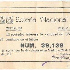 Lotería Nacional: LOTERIA NACIONAL. SORTEO NAVIDAD. 1917. Lote 102966659