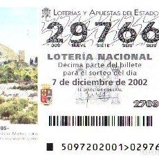 Lotería Nacional: ESPAÑA. LOTERÍA. 2002. SORTEO: 97 MARTOS (JAÉN). FIESTA DE LA ACEITUNA. FECHA: 7 DICIEMBRE. EL NÚMER. Lote 103031114