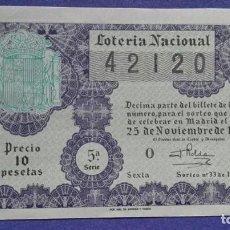 Lotería Nacional: DECIMO DE LOTERIA NACIONAL DE 1957 SORTEO 33. Lote 103318063
