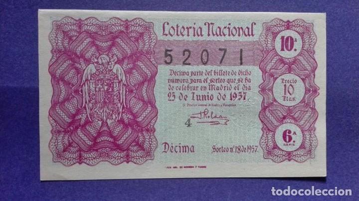 DECIMO DE LOTERIA DE 1957 SORTEO 18 (Coleccionismo - Lotería Nacional)