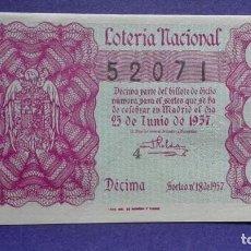 Lotería Nacional: DECIMO DE LOTERIA DE 1957 SORTEO 18. Lote 103318707