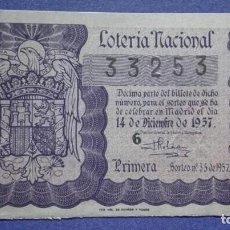 Lotería Nacional: DECIMO DE LOTERIA DE 1957 SORTEO 35. Lote 103319671