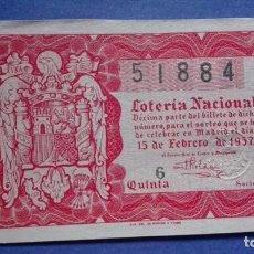 Lotería Nacional: DECIMO DE LOTERIA DE 1957 SORTEO 5. Lote 103320167