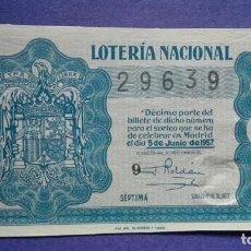 Lotería Nacional: DECIMO DE LOTERIA DE 1956 SORTEO 16. Lote 103347883