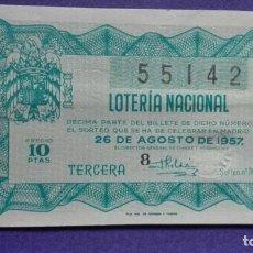 Lotería Nacional: DECIMO DE LOTERIA DE 1957 SORTEO 24. Lote 103348115