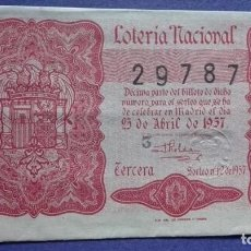 Lotería Nacional: DECIMO DE LOTERIA DE 1957 SORTEO 12. Lote 103348191