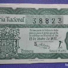 Lotería Nacional: DECIMO DE LOTERIA DE 1957 SORTEO 29. Lote 103349023