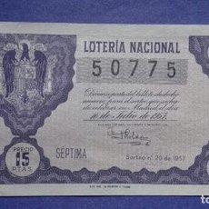 Lotería Nacional: DECIMO DE LOTERIA DE 1957 SORTEO 20. Lote 103349091