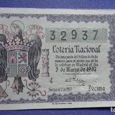 Lotería Nacional: DECIMO DE LOTERIA DE 1957 SORTEO 7. Lote 103349179