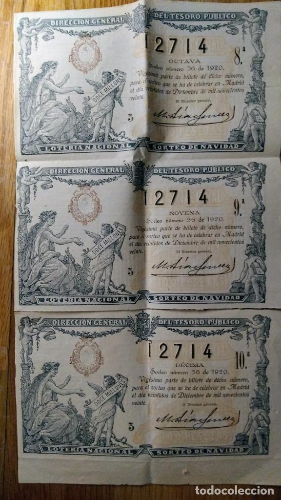 3 DECIMOS LOTERIA NAVIDAD SORTEO 36 DEL 22 DICIEMBRE 1920 (Coleccionismo - Lotería Nacional)