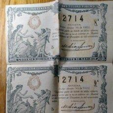 Lotería Nacional: 3 DECIMOS LOTERIA NAVIDAD SORTEO 36 DEL 22 DICIEMBRE 1920. Lote 103451295
