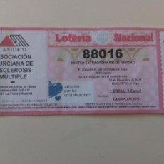 Lotería Nacional: PARTICIPACION LOTERIA NAVIDAD 2015 Nº 88016 ASOCIACION MURCIANA ESCLEROSIS MULTIPLE. Lote 103587519