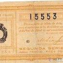 Lotería Nacional: DECIMO DE LOTERIA NACIONAL SORTEO 10 NOVENA SERIE. 3 DE ABRIL DE 1920. PRECIO TRES PESETAS. Lote 104017223