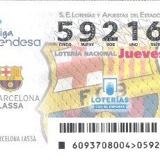 Lotería Nacional: 1 DECIMO LOTERIA NACIONAL JUEVES - 23 NOVIEMBRE 2017 - 93/17 BALONCESTO LIGA ENDESA - F.C BARCELONA. Lote 104375738