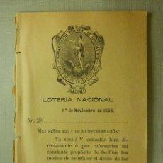 Lotería Nacional: LOTERIA NACIONAL - 1 DE NOVIEMBRE DE 1886 - ADMINISTRACIÓN NACIONAL DE LOTERIAS Nº 8 - C/ MAYOR 78 -. Lote 104413151