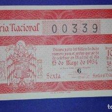 Lotería Nacional: DECIMO DE LOTERIA DE 1954 SORTEO 15. Lote 104658615