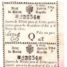 Lotería Nacional: REAL LOTERÍA DE NUEVA ESPAÑA. 1 PESO. 5 MARZO 1802. PAREJA SIN SEPARAR. . Lote 104917007