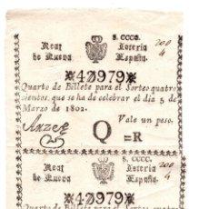 Lotería Nacional: REAL LOTERÍA DE NUEVA ESPAÑA. 1 PESO. 5 MARZO 1802. PAREJA SIN SEPARAR. . Lote 104917039
