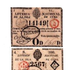 Lotería Nacional: REAL LOTERÍA ISLA DE CUBA. 1PESO.28 MAR 1817 Y LOTERÍA NACIONAL ISLA DE CUBA.4REALES.16 OCT 1823. . Lote 104917167