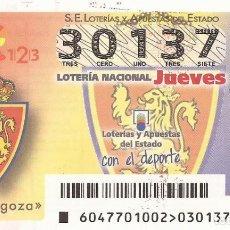 Lotería Nacional: LOTERIA NACIONAL - 30137 - SORTEO 15 JUNIO 2017 - REAL ZARAGOZA. Lote 137172469