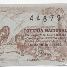 Lotería Nacional: LOTERÍA NACIONAL 1963 ( SORTEO 20 ). Lote 105942611