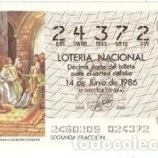 Lotería Nacional: DÉCIMO LOTERÍA, SORTEO Nº 24 DE 1986. COLÓN PRESENTA SU PLAN A LOS REYES CATÓLICOS. REF- 9-8624. Lote 106055195