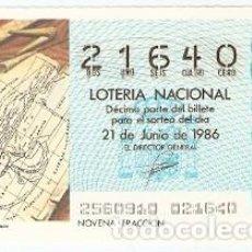 Lotería Nacional: DÉCIMO LOTERÍA, SORTEO Nº 25 DE 1986. MAPAMUNDI DE ESTRABON. REF. 9-8625. Lote 106055311