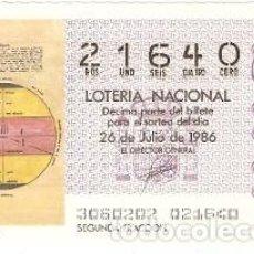 Lotería Nacional: DÉCIMO LOTERÍA. SORTEO Nº 30 DE 1986. MAPA DE PEDRO DE ARLY. REF. 9-8630. Lote 106055563