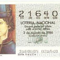 Lotería Nacional: DÉCIMO LOTERÍA. SORTEO Nº 31 DE 1986. EL REY JUAN II DE PORTUGAL. REF. 9-8631. Lote 106055655