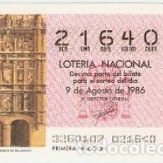 Lotería Nacional: DÉCIMO LOTERÍA. FACHADA DE LA UNIVERSIDAD DE SALAMANCA. REF. 9-8632. Lote 106055763