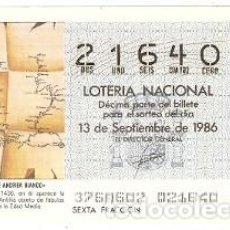Lotería Nacional: DÉCIMO LOTERÍA. SORTEO Nº 37 DE 1986. MAPA DE ANDREA BIANCO. REF. 9-8637. Lote 106056019