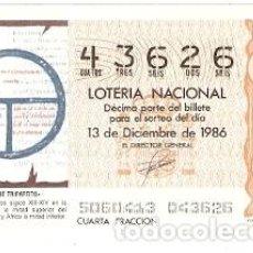 Lotería Nacional: DÉCIMO LOTERÍA. SORTEO Nº 50 DE 1986. EL ORBE TRIPARTITO. REF. 9-8650. Lote 106056555