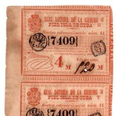 Lotería Nacional: LOTERÍA. REAL LOTERÍA DE LA SIEMPRE FIEL ISLA DE CUBA. 2 PESOS. 19 NOVIEMBRE 1844.PAREJA SIN SEPARAR. Lote 106587823