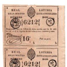 Lotería Nacional: LOTERÍA.REAL LOTERÍA. GRAN SORTEO ESTRAORDINARIO.ISLA DE CUBA. 1 PESO. 4 AGT 1841.PAREJA SIN SEPARAR. Lote 106588087