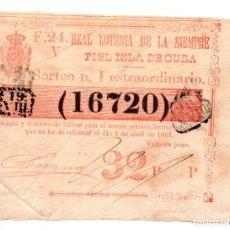 Lotería Nacional: LOTERÍA. REAL LOTERÍA DE LA SIEMPRE FIEL ISLA DE CUBA. 1 PESO. 4 ABRIL 1861. Lote 106588311