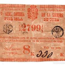 Lotería Nacional: LOTERÍA. REAL LOTERÍA DE LA SIEMPRE FIEL ISLA DE CUBA. 1 PESO. 18 NOVIEMBRE 1843. Lote 106588535