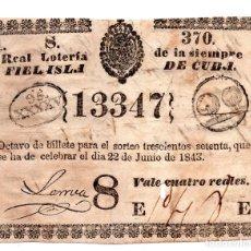 Lotería Nacional: LOTERÍA. LOTERÍA NACIONAL DE LA ISLA DE CUBA. 4 REALES. 22 JUNIO 1843. Lote 106588991