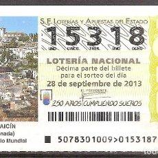 Lotería Nacional: LOTERIA NACIONAL,28/09/2013.. Lote 106948679