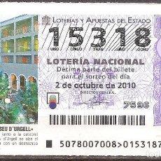 Lotería Nacional: LOTERIA NACIONAL,02/10/2010.. Lote 107048883