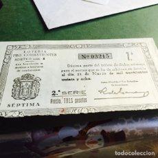 Lotería Nacional: DÉCIMO DE LOTERÍA PROCOMBATIENTES NUMERO 03215 21 DE MARZO 1938. Lote 107653440