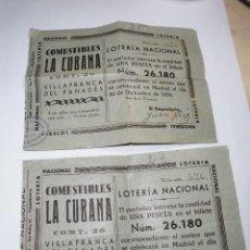 Lotería Nacional: MAGNIFICOS DOS NUMEROS ANTIGUOS DE LOTERIA NACIONAL DEL 22 DE DICIEMBRE DEL 1939. Lote 107908883