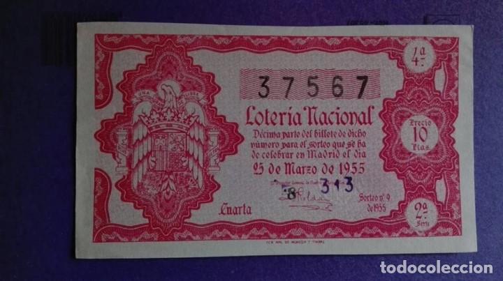 DECIMO DE LOTERIA DE 1955 SORTEO 9 (Coleccionismo - Lotería Nacional)