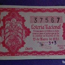 Lotería Nacional: DECIMO DE LOTERIA DE 1955 SORTEO 9. Lote 108348399