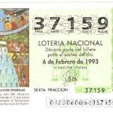 Lotería Nacional: DÉCIMO LOTERÍA AÑO 1993. BEATO DE LIEVANA. REF. 9-9312. Lote 108433275