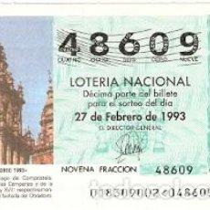 Lotería Nacional: DÉCIMO LOTERÍA AÑO 1993. AÑO JACOBEO 1993. REF. 9-9318. Lote 108433623