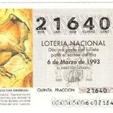 Lotería Nacional: DÉCIMO LOTERÍA AÑO 1993. ALTAMIRA. CANTABRIA. REF. 9-9320. Lote 108433671