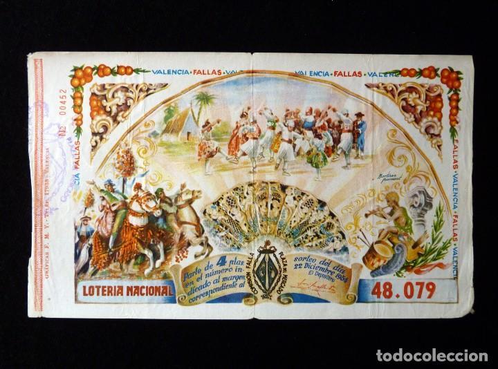 FALLAS VALENCIA 1954. PARTICIPACIÓN 4 PTAS., LOTERIA NACIONAL Nº 48079. FALLA PLAZA DEL MERCADO (Coleccionismo - Lotería Nacional)