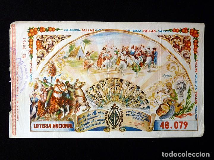 FALLAS VALENCIA 1954. PARTICIPACIÓN 4 PTAS., LOTERIA NACIONAL Nº 48079. FALLA PLAZA DEL MERCADO (2) (Coleccionismo - Lotería Nacional)